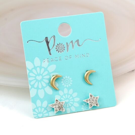 Gold Moon And Silver Star Stud Earring Set