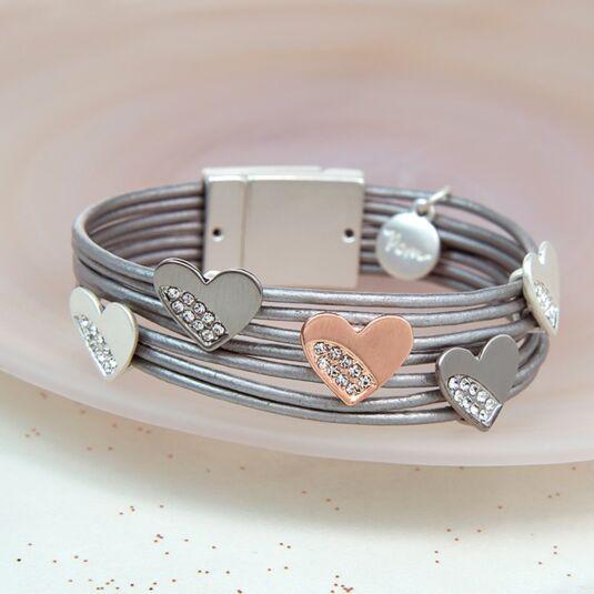 Mixed Crystal Heart Leather Bracelet