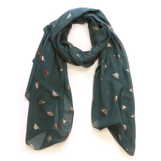 Blue-Grey and Rose Gold Foil Bee Scarf