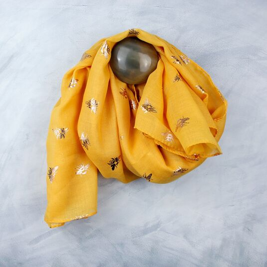 Yellow And Rose Gold Bee Scarf