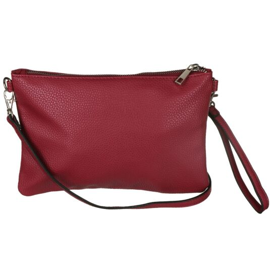 Vegan Leather Convertible Clutch Bag - Magenta