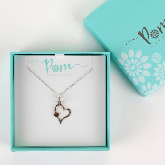 Silver and Rose Gold Textured Heart Necklace