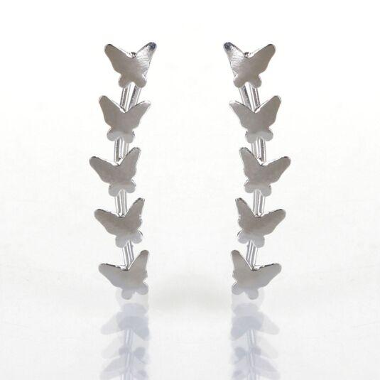 Silver Butterfly Ear Line Studs