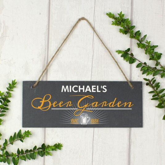 Personalised 'Beer Garden' Printed Hanging Slate Plaque