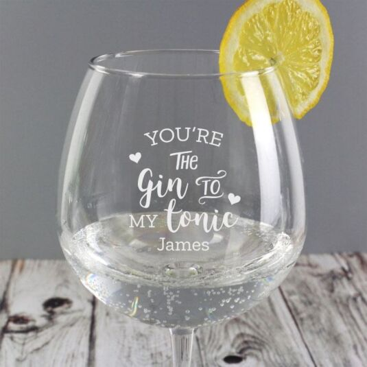 Personalised 'Gin to My Tonic' Balloon Glass