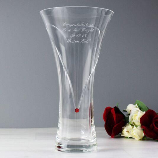Personalised Infinity Vase with Swarovski Elements – Ruby