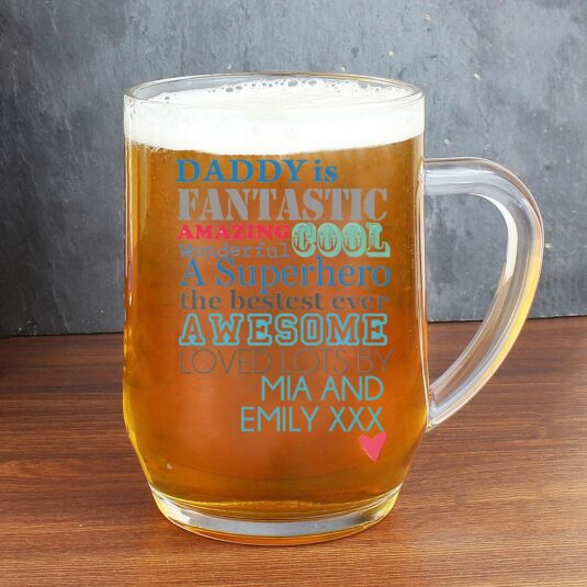 Personalised He Is… Glass Tankard
