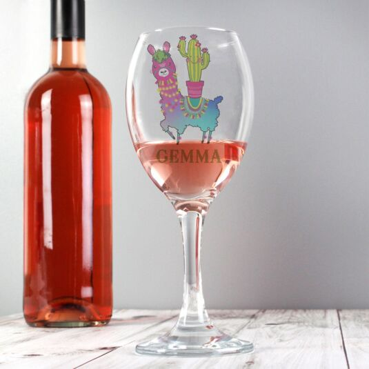 Personalised Llama Wine Glass