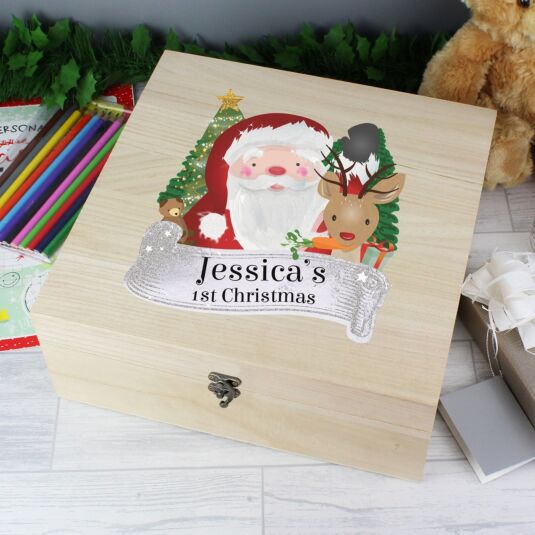 Personalised Colourful Santa Large Wooden Keepsake Box