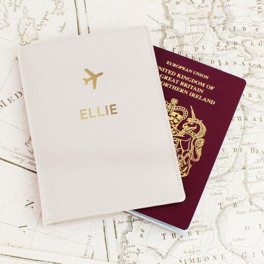Cream Gold Name Passport Holder