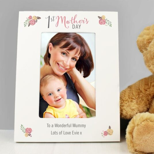 Personalised Floral Bouquet 1st Mother's Day 4 x 6 Photo Frame