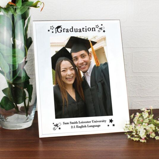 """Personalised Mirrored Glass Graduation 5 x 7"""" Frame"""