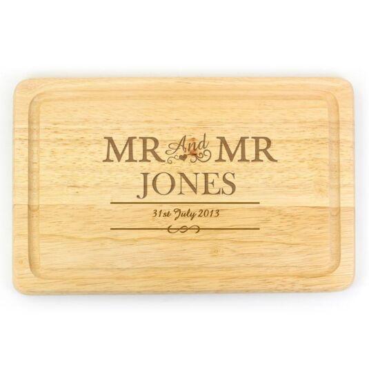 Personalised Mr & Mr Rectangular Chopping Board