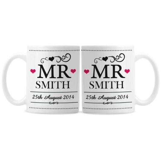Personalised Mr & Mr Mug Set