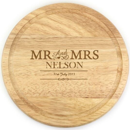 Personalised Mr And Mrs Round Chopping Board