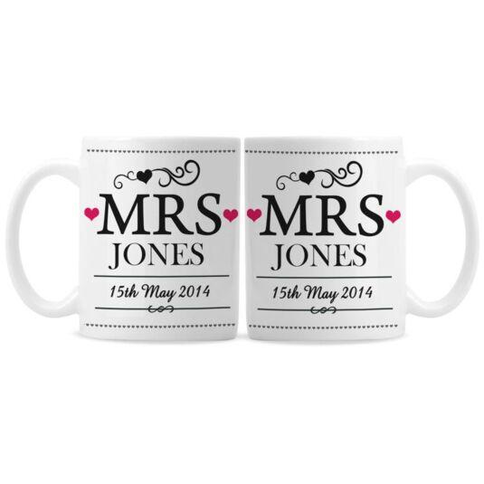 Personalised Mrs & Mrs Mug Set