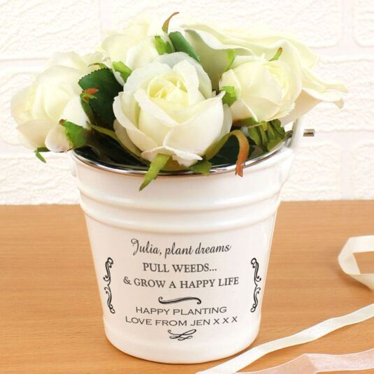 Personalised Scroll Porcelain Bucket