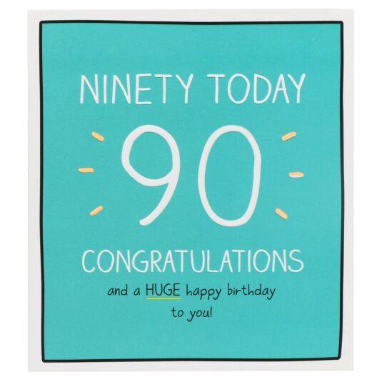 'Congratulations Ninety Today!' Birthday Card