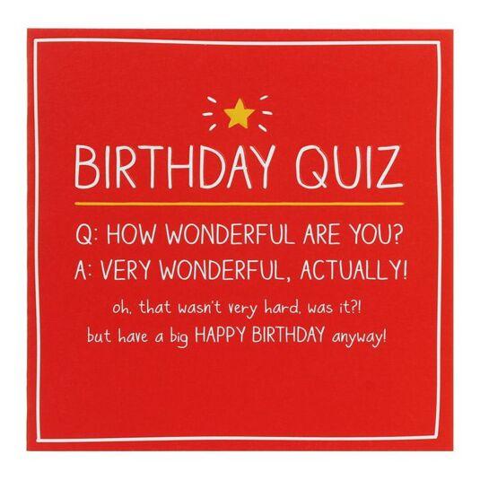 Birthday Quiz Card