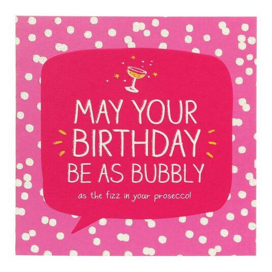 Bubbly Prosecco Birthday Card