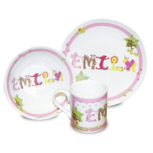 Personalised Pink Animal Name Breakfast Set