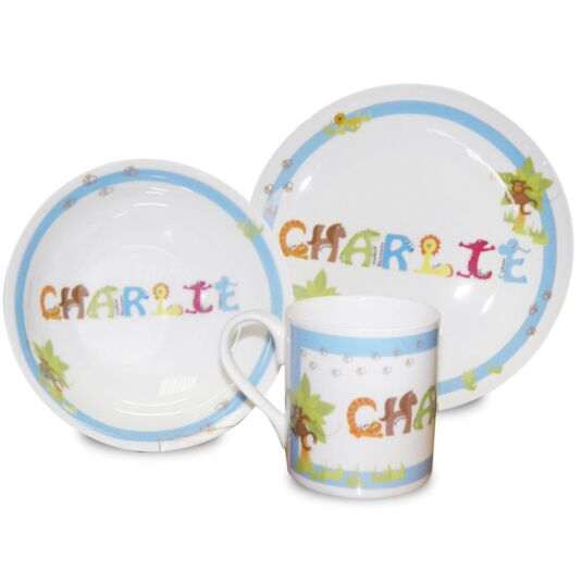 Personalised Blue Animal Name Breakfast Set