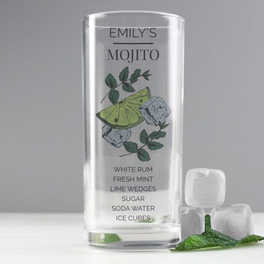 Personalised Mojito Hi Ball Cocktail Glass
