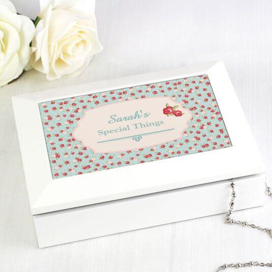 Personalised Vintage Floral White Jewellery Box