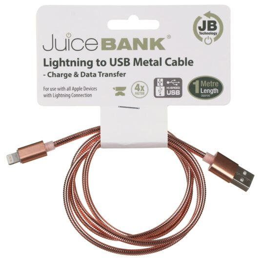 Juice Bank Rose Gold 1m Lightening to USB Metal Cable