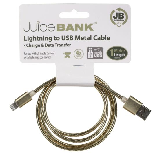 Juice Bank Gold 1m Lightening to USB Metal Cable