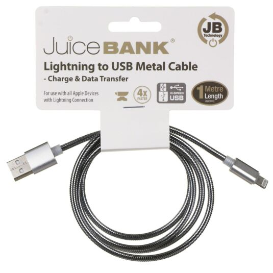 Juice Bank Silver 1m Lightening to USB Metal Cable