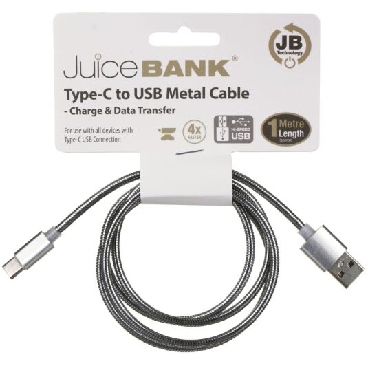 Juice Bank Silver 1m Type C to USB Metal Cable