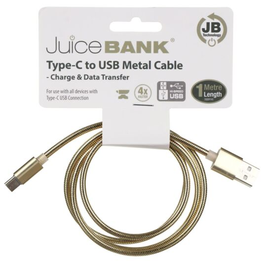 Juice Bank Gold 1m Type C to USB Metal Cable
