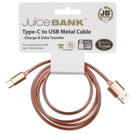 Juice Bank Rose Gold 1m Type C to USB Metal Cable