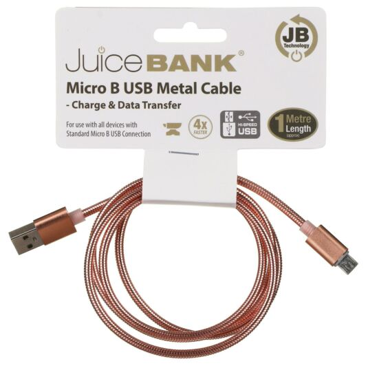 Juice Bank Rose Gold 1m Micro B to USB Metal Cable
