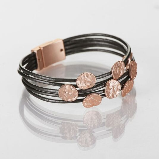 Matte Rose Gold and Grey Leather Multi Disc Bracelet