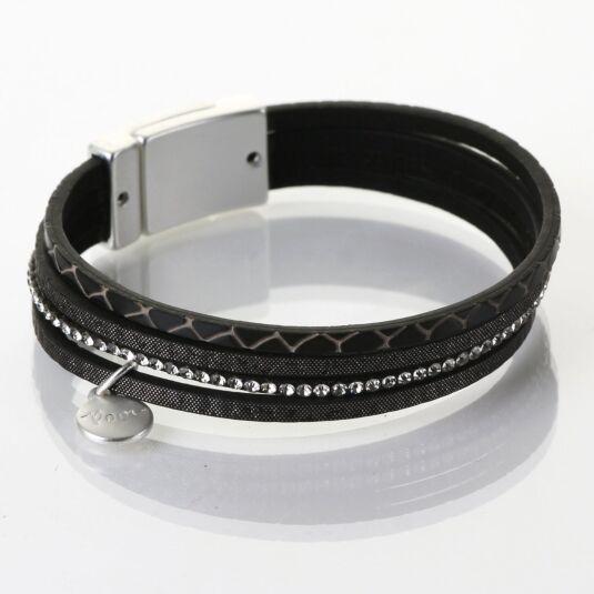 Matt Silver & Black 4 Strand Sparkle Embossed Bracelet