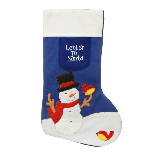 Letter to Santa Snowman Christmas Stocking