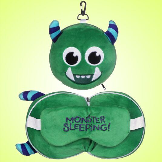 Resteazzz Green Monstarz Monster Travel Pillow & Eye Mask