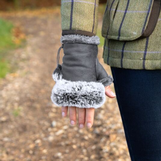 Grey Fingerless Gloves with Faux Fur Trim