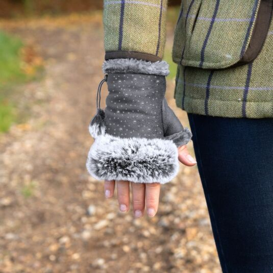 Grey Fingerless Gloves with Silver Gems