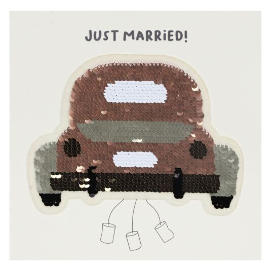 Shine Sequin Wedding Car Card