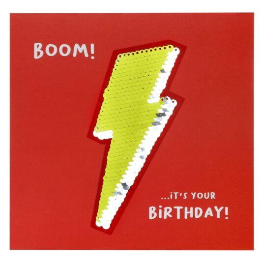 Shine Sequin Lightning Bolt Birthday Card