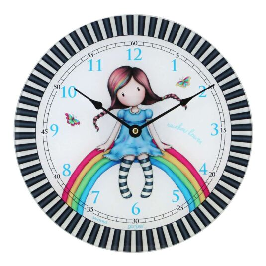 Rainbow Heaven Glass Wall Clock