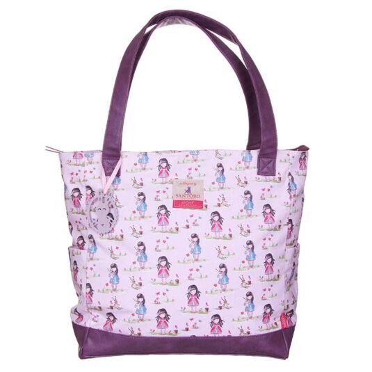 Pastel Print Ladybird Canvas Handbag