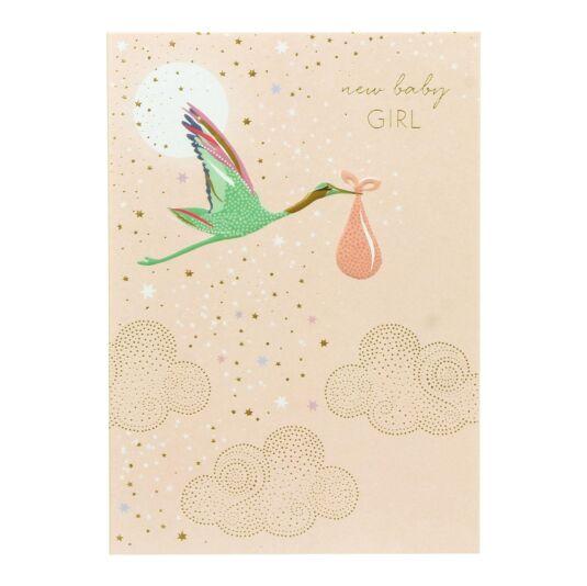 Baby Girl Stork Card