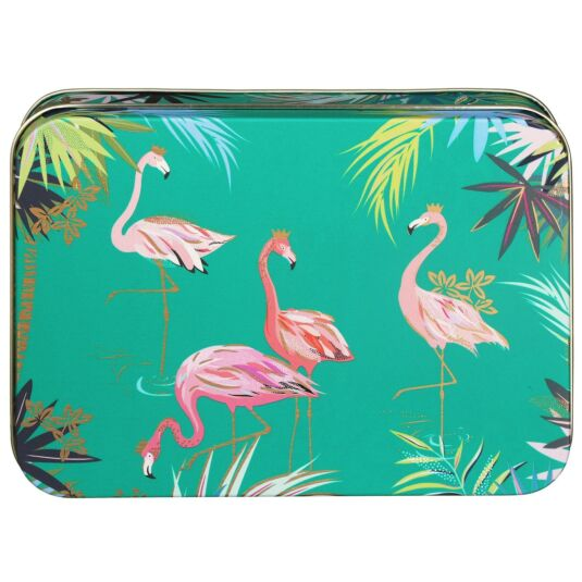 Small Rectangular Teal Flamingo Tin