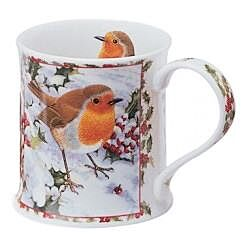 Seasons Greetings Robin Wessex shape Mug