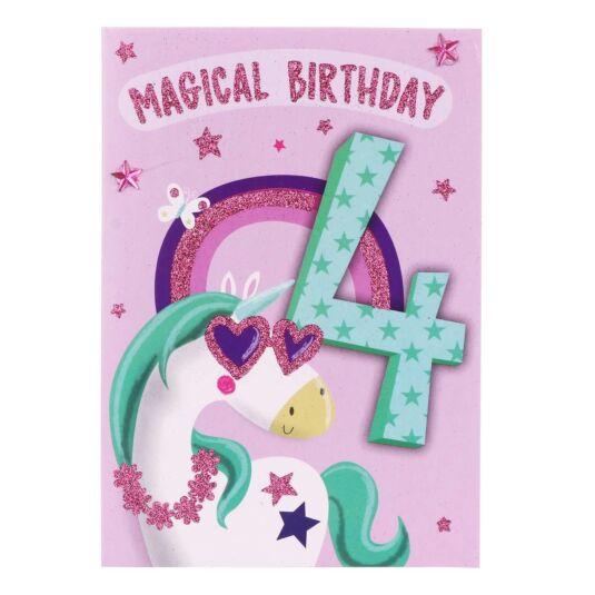 Unicorn 4th Birthday Card