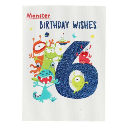 Aliens 6th Birthday Card